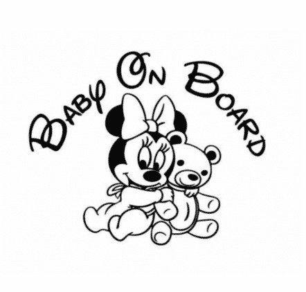 Minnie Bear Baby on Board Sticker