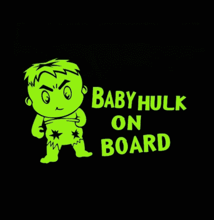 Baby Hulk On Board Sticker