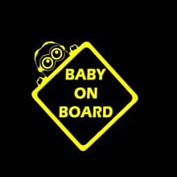 Yellow Minion Baby on Board Sticker
