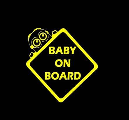 Yellow Minion Baby on Board Sticker