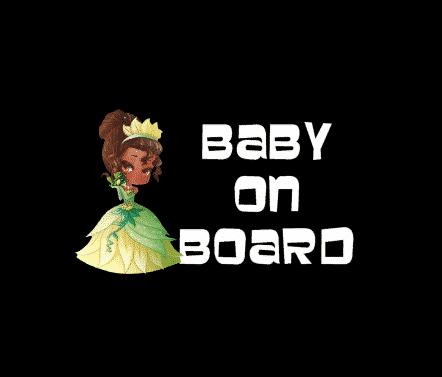 Princess Tiana Baby On Board Sticker