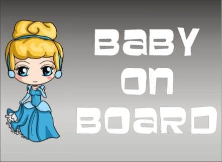 Cinderella Baby On Board Sticker