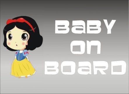 Snow White Baby On Board Sticker