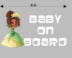Princess Tiana Baby On Board Sticker