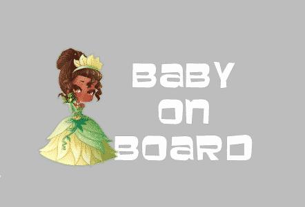 Tiana Baby on Board Sticker