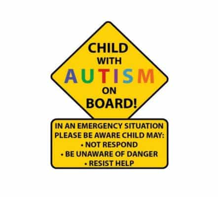 Child with Autism Baby on Board Sticker