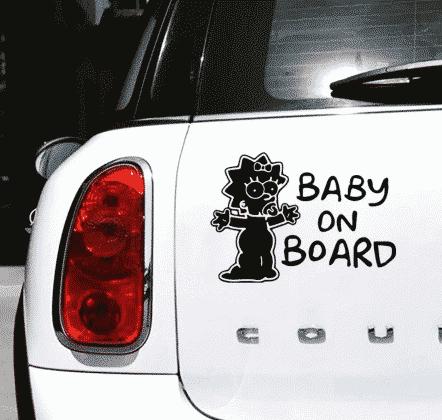Maggie On Board Car Sticker Black