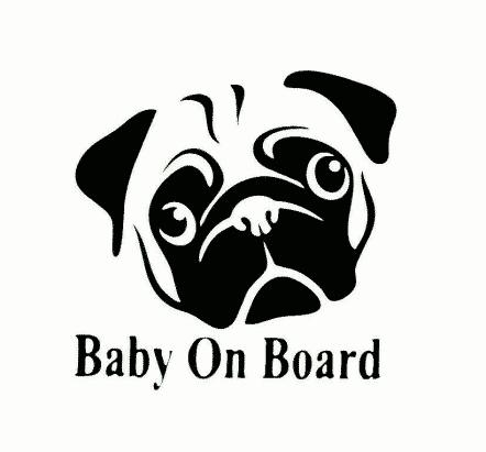 Pug Baby on Board Sticker