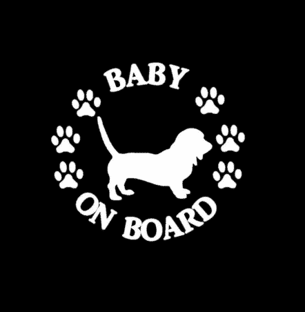 Baby Basset Hound on Board Sticker