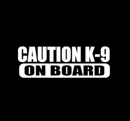 Caution K-9 On Board Sticker