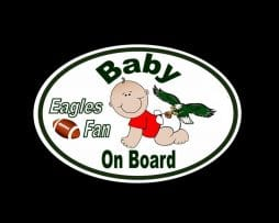 Eagles Fan Baby on Board Sticker