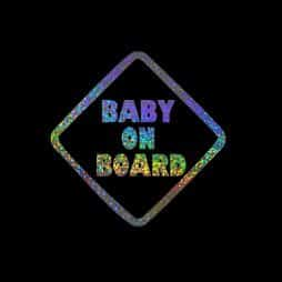 Holographic Baby on Board Sticker