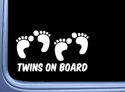 Footprints Twins On Board Car Sticker