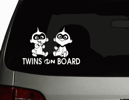 Twins Incredibles On Board Sticker